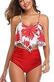 osazic Women's Rambling Rose High-Waisted Push Up Bikini Set Red Floral S