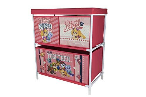 Familie24 Spielzeugregal Auswahl Minnie Maus Paw Patrol Mickey Maus JP Masks Kunststoffregal Kinderregal Regal Spielzeugkiste (Paw Patrol Girl)