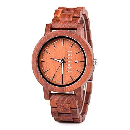Red Hombre Reloj de madera Movimiento hecho a mano Movimiento japonés Cuarzo Calendario Movimiento de negocios Preciosa Madera Producción Combinación de tecnología y naturaleza Amantes de los amantes