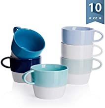Sweese 407.003 Porcelain Latte Cups - Stackable Coffee Cups - 10 Ounce for Specialty Coffee Drinks, Cappuccino, Cafe Mocha and Tea - Set of 6 - Cold Assorted Colors