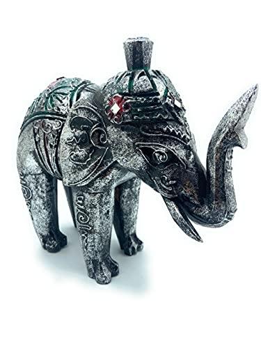 Elefante de Madera Pintado y Decorado. Color Plateado. Elefante de la Suerte. Artesania Decoracion Hogar. Idea de Regalo.