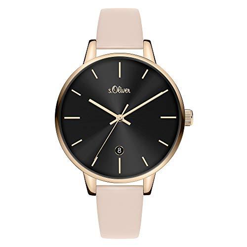 s.Oliver Damen Analog Quarz Uhr mit Leder Armband SO-3815-LQ
