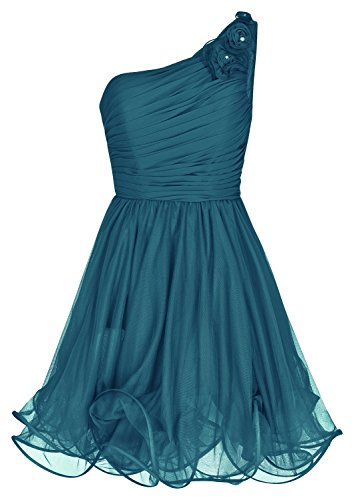 Unbekannt One-Shoulder Chiffon Abendkleid Ballkleid Festkleid Petrol 1352 (40)