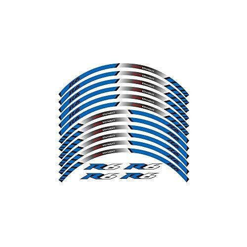 12 X grueso del borde del Borde Exterior pegatina raya Rueda Calcomanías FIT YAMAHA YZF R6 YZF1000 YZF-R6 (Color : Blue1)