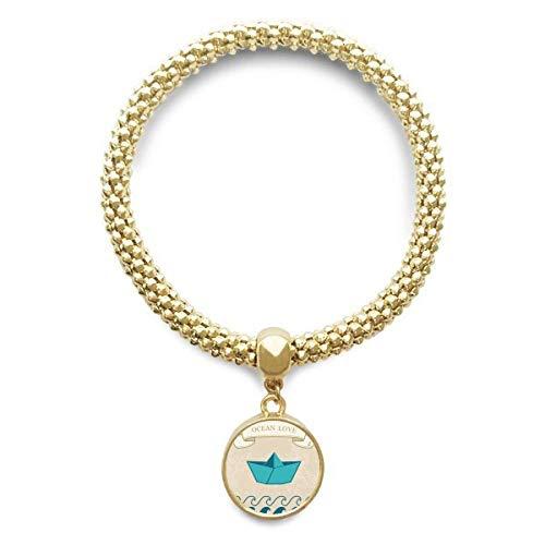 DIYthinker Damen Papier Falten Boot Ozean-Liebe Meer Segeln goldene Armband Laufende Anhänger Schmuck-Kette