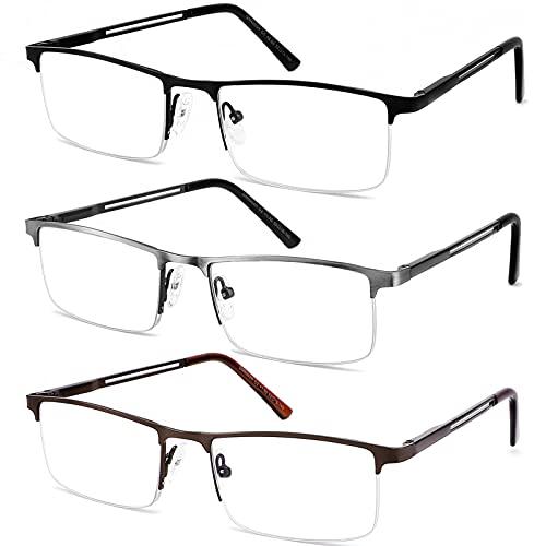 JJWELL 3 Pack Blue Light Reading Glasses for Men, Lightweight Metal Rectangle Semi Rimless Readers for Men, Anti Eyestrain/ Computer Glare/ UV, Half Frame Spring Hinge Eyeglasses with Pouches