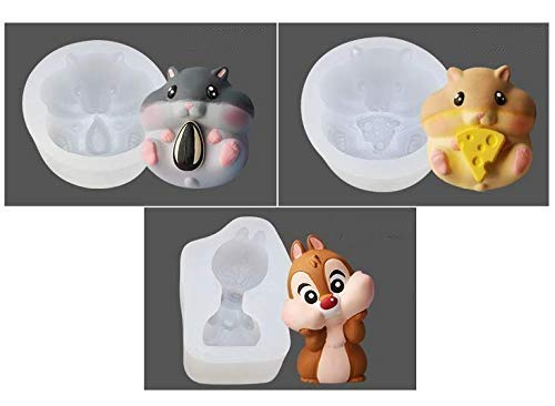 UgyDuky Hamster Silicone Mold - 2 Pack Cute Hamster Eating Cheese Nut Art Craft Mould for Fondant, Cake, Candle, Soap, Wax Crayon, Polymer Paper Fimo Clay