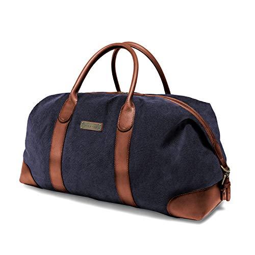 DRAKENSBERG Duffel Weekender - große Reisetasche im Retro-Vintage-Design, Damen und Herren, handgemacht in Premium-Qualität, 60L, Canvas und Leder, Marineblau, DR00156