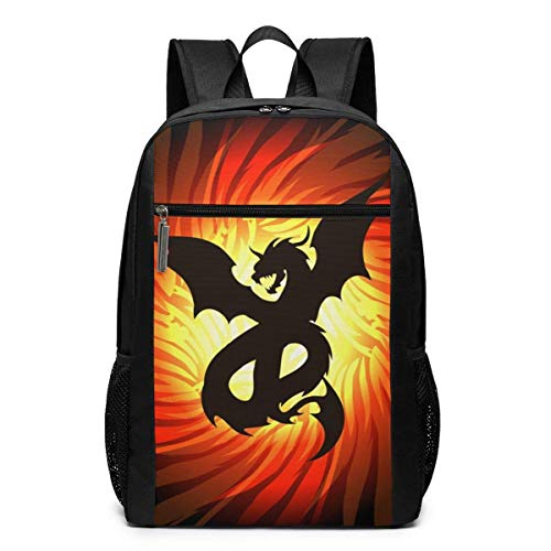 TRFashion Rucksack Dragon in Whirlpool of Fire Unisex Laptop BackpackBusiness Travel Computer Bag Backpack Classic Lightweight Resistant Backpack 17 Inch Schoolbag Book Bag for Men Women Black