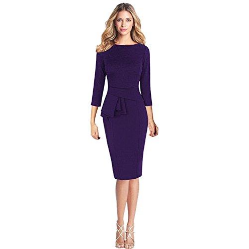 YCQUE Frauen Elegant Slim Fit Retro Vintage Sexy Solide Rüschen Schößchen 3/14 Kleid Ärmel Arbeit Geschäfts Party Mantel Knielangen Oansatz Kleid