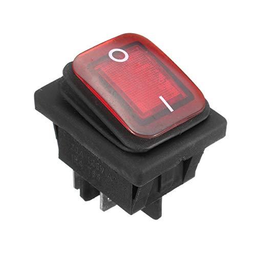 Módulo electrónico 16A 250V 4Pin interruptor basculante impermeable con lámpara DPst luz de encendido/apagado (1pcs) Equipo electrónico de alta precisión (Color : Red)