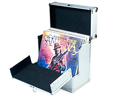 """Retro Musique Aluminium 12"""" Vinyl Record LP Storage Case with unique folding front flap for better access to your LPs"""