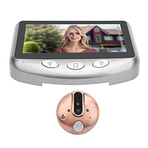 Mirilla de visor de puerta digital TFT LCD de 4.3 pulgadas, cámara de visor de mirilla de video de 720P, gran angular de 120 °, visión nocturna inteligente(gris)