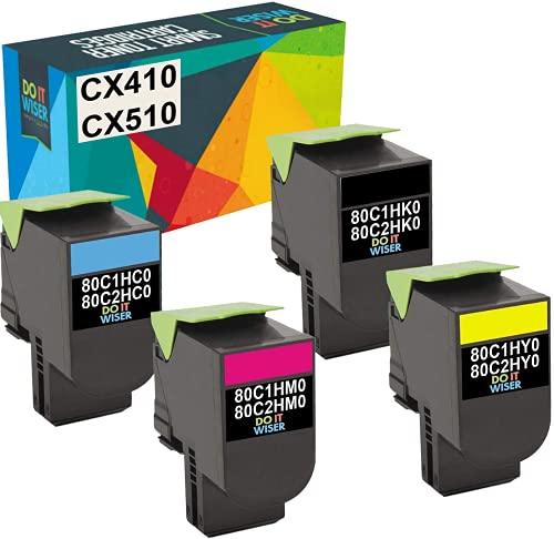 Do it Wiser Compatible Toner Cartridge Replacement for Lexmark High Yield CX410de CX510de CX410dte CX410e CX510dthe CX510dhe | 801HK 801HC 801HM 801HY - 4 Pack
