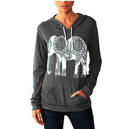 ULIAN Women's Fall Hoodies Elephant Print Long Sleeve Pullover Sweatshirt with Pocket (XXL, Dark Grey)