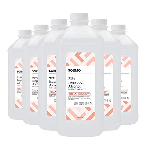 Amazon Brand - Solimo 91% Isopropyl Alcohol First Aid Antiseptic, 32 Fl Oz (Pack of 6)
