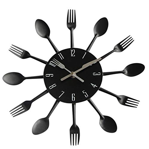 Zarupeng Modern design keukenapparaat wandklok van roestvrij staal lepel vork mes klok zwart keukenklok zonder tikgeluiden voor thuiskantoor decoratie