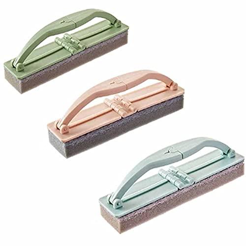 2021 nuevo cepillo de esponja plegable, 3 piezas de esponja de cocina, cepillo para fregar piscina y bañera con mango, potente cepillo de descontaminación de cocina, cepillo para pisos de baldosas