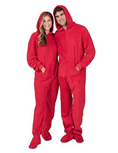 Footed Pajamas - Bright Red Adult Hoodie Fleece Onesie - Adult - Large...