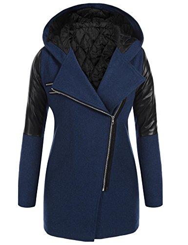 Soteer Winterjas voor dames, winterjas, wollen mantel met capuchon en kunstlederen mouwen