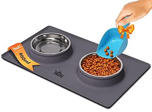 Katzennapf Unterlage mit 2x400ML Edelstahl Futternapf Katze - Futterstation Hund für Welpen/Kleine Hunde und Katzen - FDA Silikon Napfunterlage mit Fressnapf Katze/Fressnapf Hund - 2X Katzen Napf