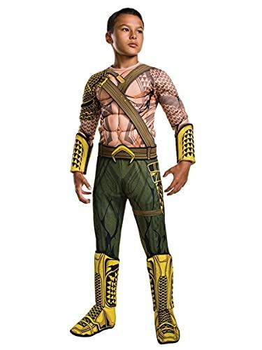 SJJYP DC Película Comics Golden Aquaman Onesies, el increíble Atuendo de Pecho Muscular de Neptuno, Disfraz de Kids Deluxe Halloween Carnival Body,Kid L 130~140cm-Yellow