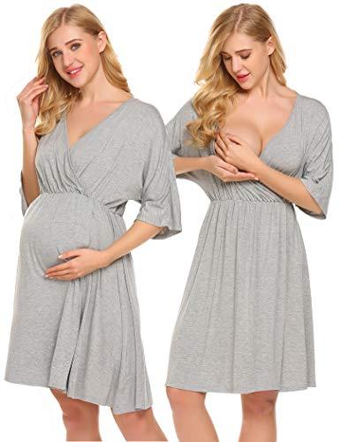 Ekouaer Hospital Nightgown Womens Short Sleeve Maternity Nursing Sleepwear,Flower Grey,Medium