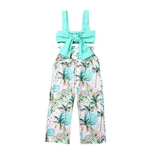 TWIFER_été_ Toddler Kids bébé Fille Floral Strap Crop Tops Bowknot Pantalons Amples vêtements fixés_1 2 3 4 5 6 7 9 Ans Les magasins Ont