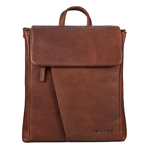 STILORD 'Anita' Lederrucksack Damen Klein Vintage City Rucksack Daypack für iPad 9.7 Zoll Rucksackhandtasche Shopping Freizeit aus Echtem Leder, Farbe:Porto - Cognac