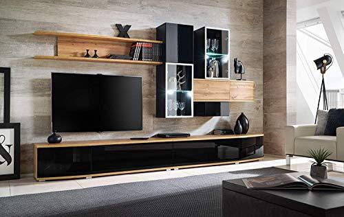 Parete Attrezzata Mobile Soggiorno Porta TV con Vetrina con Ante Illuminata a LED in Legno di Alta qualit/à Sala da Pranzo Design Moderno 250 x 190 x 45 Cm Bianco Lucido Laccato Atapan