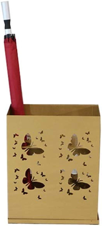 Lsxlsd Umbrella Bucket Wrought Iron Storage Bucket-Umbrella Stand with-Walking Stick Stand (color   gold)