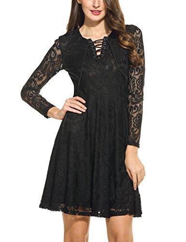 Beyove Damen Spitzenkleid Langarm Kleid V-Ausschnitt Cocktailkleid Sexy Partykleid Abendkleid Knielang Ballkleid Rosa/Schwarz