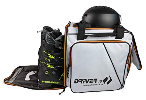Driver13 ® Skistiefelrucksack mit Helmfach + Skischuhrucksack mit Helmfach für Hart + Snowboard Boot + Inliner + Bootbag Tasche weiß (Germany Edition)