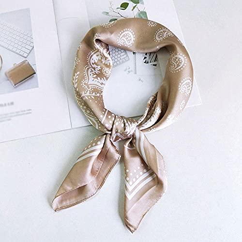 Turbantes para Mujer Diademas Turbante De Satén De Seda Bufanda Cuadrada Bufanda Estampada Turbante De Mujer Lazo De Pelo-Khaki