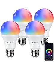 TECKIN Lampadina Led intelligente Wifi con luce calda 2800k-6200k+Rgbw, multicolore E27 lampadina smart Compatibile con Alexa, Google Home,7.5W,4 Pezzi [Classe di efficienza energetica A]