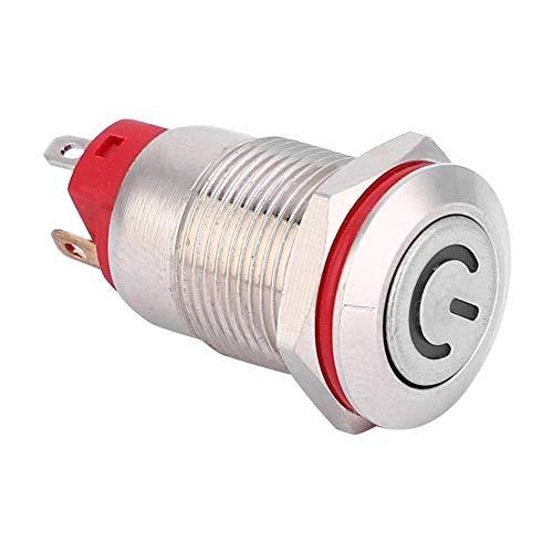 Interruptor de botón de metal Luz LED Interruptor de botón de 12 mm Interruptor de autobloqueo duradero para accesorios industriales de automóvil/RV(white, 9-30V)