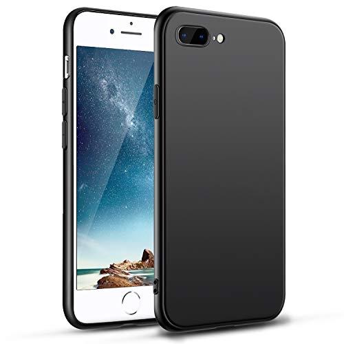 Hülle Für iPhone 8 Plus iPhone 7 Plus Handyhülle Schwarz Silikon Case Kompatibel mit iPhone 7 Plus/8 Plus, Ultra Dünn Weich TPU Handyhülle Stoßdämpfend Anti-Fingerabdruck für iPhone 8 Plus /7 Plus