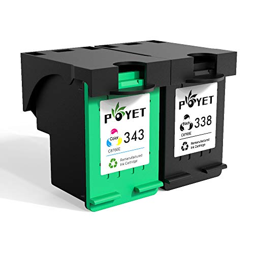 Poyet 338 343 Ricondizionato Cartuccia d'inchiostro Sostituzione per HP338 343, 338 Nero 343 Colore Cartuccia d'inchiostro Compatibile con HP DeskJet 460/5740/6540/6620/6840/9800 (1 Nero, 1 Colore)