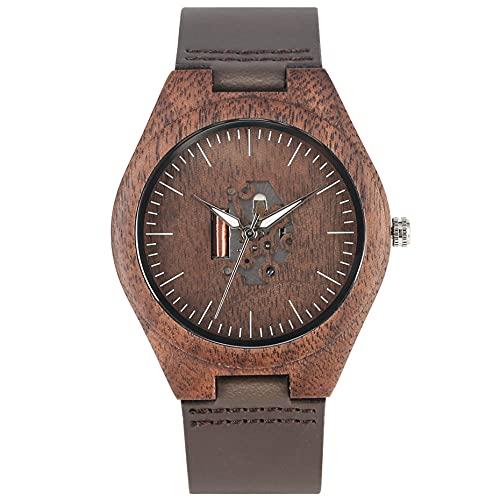 UIOXAIE Reloj de Madera Café Marrón Amantes Reloj de Madera Artes Creativas Hueco Pareja Reloj Casual Hombres Relojes de Cuero Genuino Relojes de Pulsera para Dama Regalo, Tamaño de h