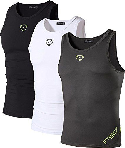 jeansian Herren Sportswear 3 Packs Sport Quick Dry Compression Tank Tops Vests Shirt LSL3306 PackH L