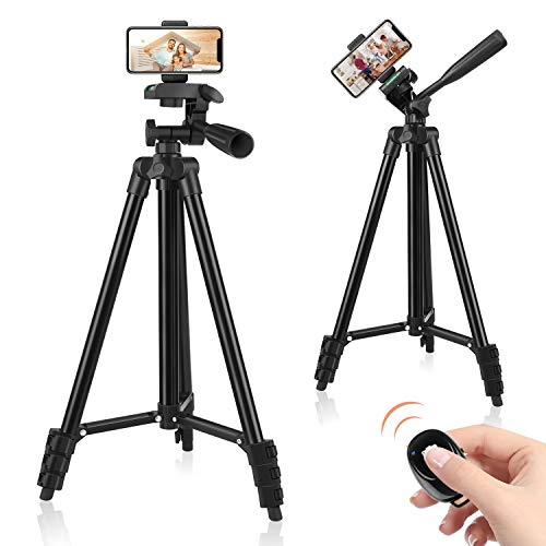 """60"""" Phone Tripod, UEGOGO Tripod for iPhone with Remote Shutter and Universal Clip, Compatible with iPhone/Android/Sport Camera Perfect for Video Recording/Selfies/Live Stream/Vlogging"""
