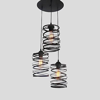3 Loft Vintage tête spirale de métal suspendus Ombre Café Cuisine Salle à manger Eclairage décoratif Fini