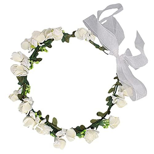 Lurrose Diadema de flores para la cabeza, disfraz de flores coronas para mujeres y niñas, tiaras de boda para fotos de novia, playa, 1 unidad