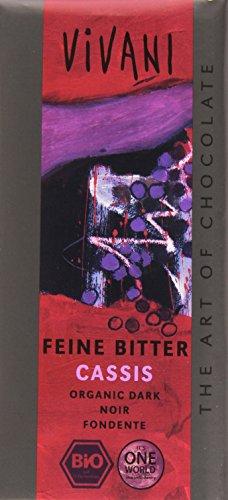 Vivani Chocolat Noir Cassis Bio 100 g - Lot de 5