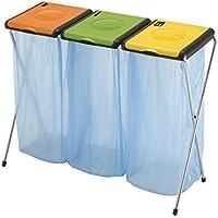 Gimi Nature 3 Soporte para bolsa de basura independiente Verde, Naranja, Amarillo Interior / exterior Resina, Acero - Soportes para bolsa de basura (Soporte para bolsa de basura independiente, Verde, Naranja, Amarillo, Interior / exterior, Resina, Acero, 130 L, Manual)