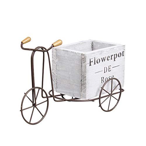 LQKYWNA Madera Retro Hierro Bicicleta Maceta De Flores Clásico Hecho A Mano Triciclo Almacenamiento Decoración De Arte Artesanía Escritorio Pastoral Adornos para El Jardín De Su Casa (Grey)
