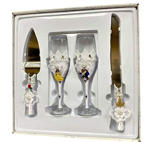 4 Piece Beauty and The Beast Wedding Cake Knife and Server Set with Champagne Toasting Glass Flutes Flower Design