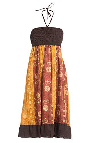 Ufash Sommerkleid oder Sommerrock Patchwork für Damen, mit elastischem Bund - Goa Gipsy Hippie-Kleid, Braun 4