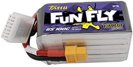 TATTU Funfly Series - Batteria Lipo 1300 mAh, 22,2 V, 100 C 6S1P, con presa XT60