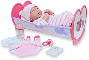 "JC Toys - La Newborn   10 Piece Layette Deluxe Rocking Crib Gift Set   14"" Life-Like Original Vinyl Newborn Doll w/..."